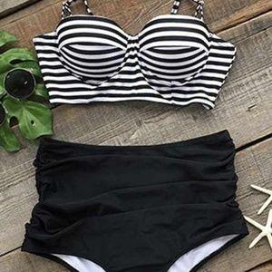All About U Stripe High-Waisted Bikini Set